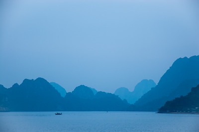 Morning mist in Ha Long bay