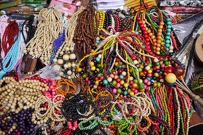 Heaping stack ofolorful jewelry, Ubud main market, Bali Indonesia