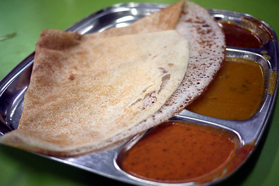 A delicious masala dosa for breakfast in Penang, Malaysia.