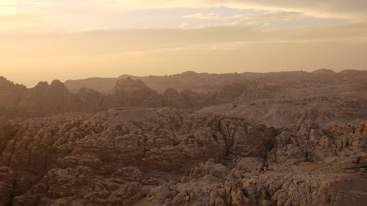 The Petra valley tinged pink by the setting sun in Wadi Musa, Jordan