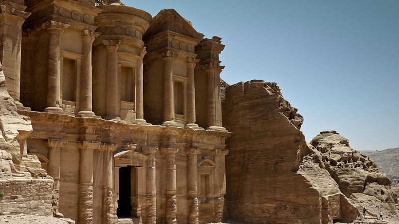 The Monastery shows just how the structures are carved right out of the side of sandstone walls of rock in Petra, Jordan.