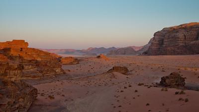 Sunset in the desert, Wadi Rum, Jordan
