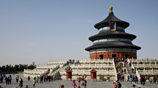 The stunning Temple of Heaven standing out against the blue sky in Beijing, China.