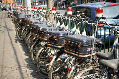 Bikes line the streets in Shanghai, China
