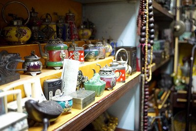 Little jars and antiques at shops in Beijing, China.