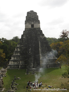 Tikal's Temple with Ceremonial Fire