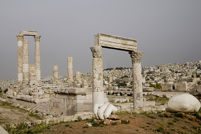Pieces of the Hercules statue lie on the ground on the hilltop of the Amman Citadel, Jordan