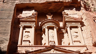 The upper portion of the treasury in Petra, Jordan.