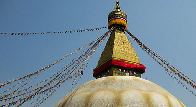 Boudhanath Stupa in Kathmandu, Nepal - one of the holiest and largest Stupas in the world in Buddhism.