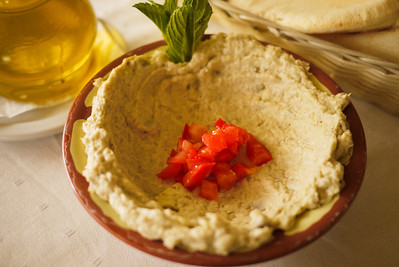 Moutabel, a creamy roasted eggplant dip reminiscent of baba ganoush and served as a mezze.
