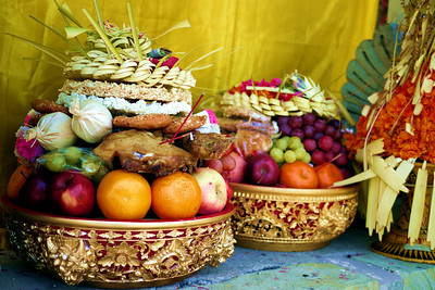 Fruit offering by locals for a festival outside of Ubud, Bali