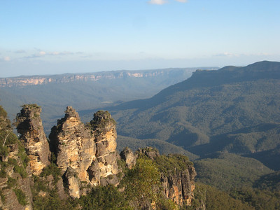 The Three Sisters Rock formation in the Blue Mountains near Sydney, Australia.