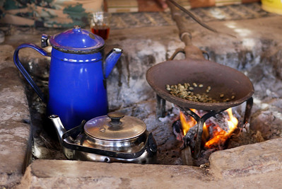Making fresh coffee over the fire at a Bedouin tent near the Feynan Ecolodge in Wadi Feynan, Jordan