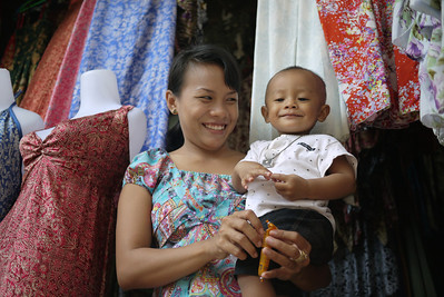 Mother and son enjoy each other, Ubud main market, Bali Indonesia