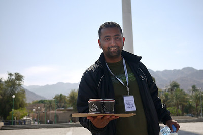 Ali, ever-present with our delicious and hot Arabic coffee Jordan