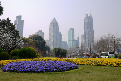 Shanghai from the People's Park in China