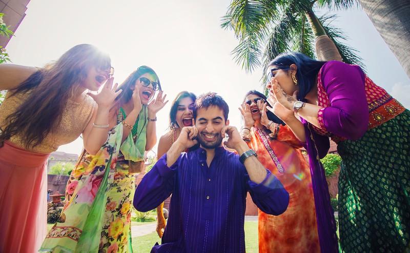 Girls teasing groom in indian wedding