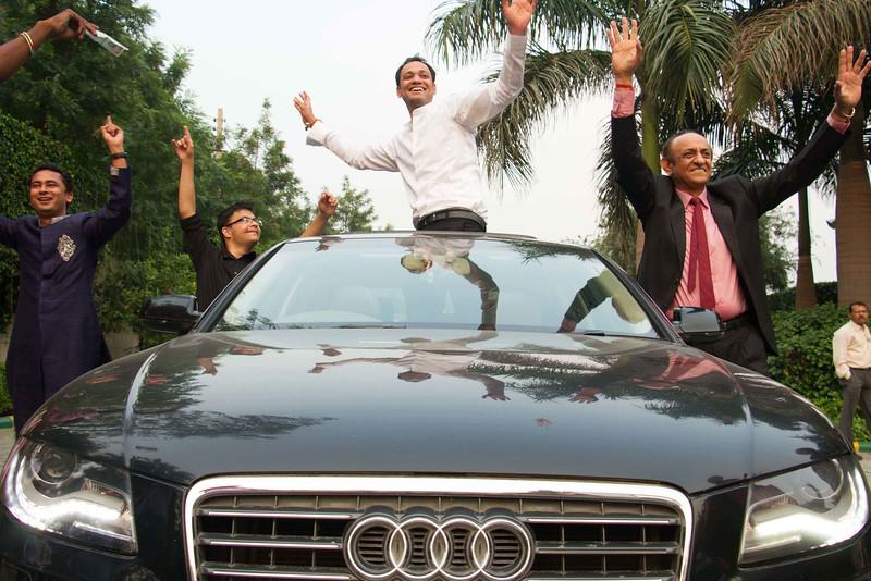 indian wedding dance on a car