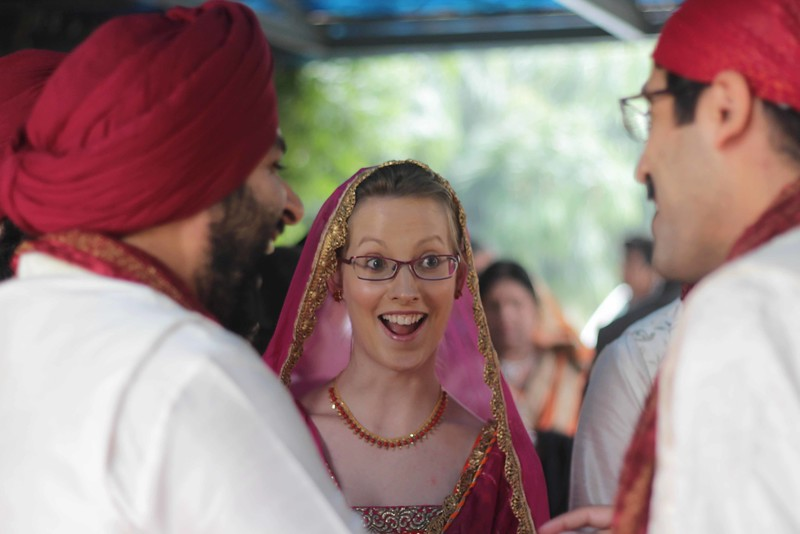 candid moment during indian wedding at guruduwara