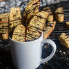 Hazelnut Biscotti with Fennel and Orange zest, topped with dark chocolate