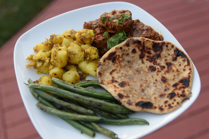 Beef Curry, Gobi Paratha, Turmeric Potatoes, Ginger Green Beans