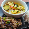 Thai yellow curry + drunken noodles