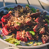 honey roast beets, topped with dukkah (sesame, hazelnut, cumin, coriander) and mint