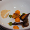 carrot 4 ways: smoked carrot puree, sous vide, ash, fritters