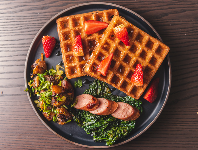 Yeasted Waffles, Home Fries, Sausage, Kale
