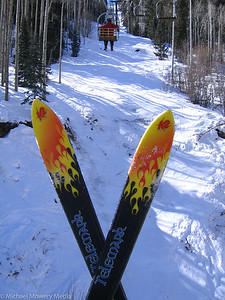 Heading up Chair 8 with my Teles