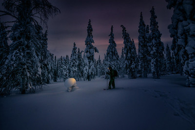 Snowshoeing in the Dusk