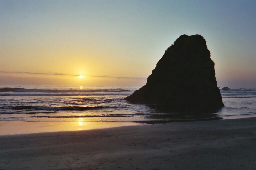Whilst driving the length of the west coast of America in 2003 I encountered this beach at sunset in Oregon.
