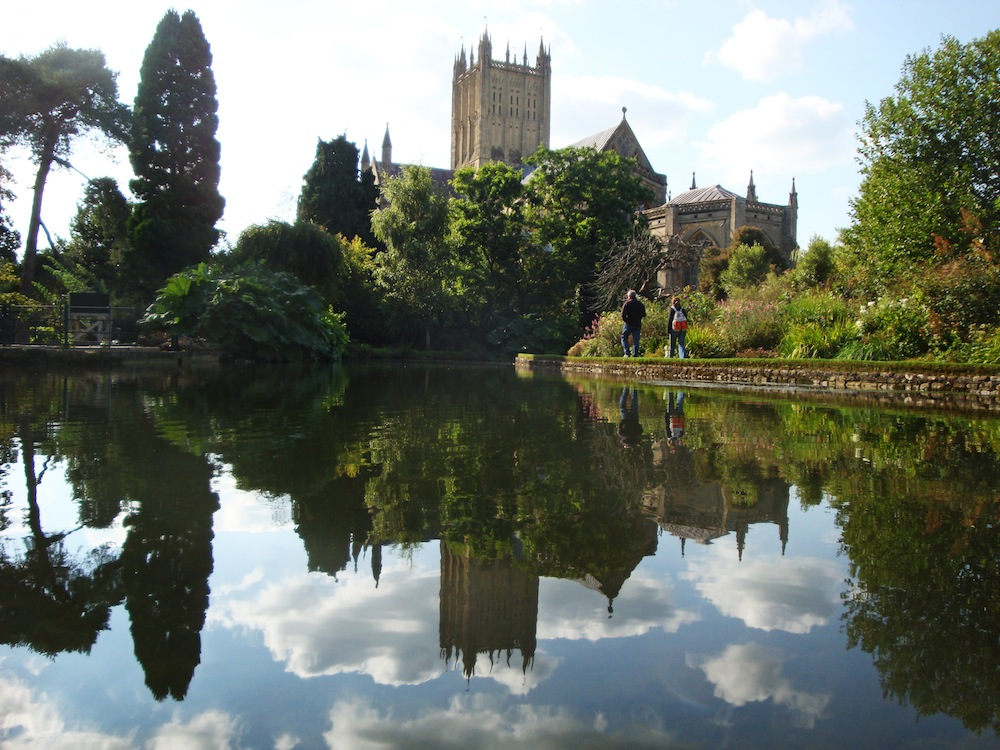 Wells is south of Bristol. It is the setting for a beautiful palace and cathedral, and also, for the screamingly funny movie Hot Fuzz!