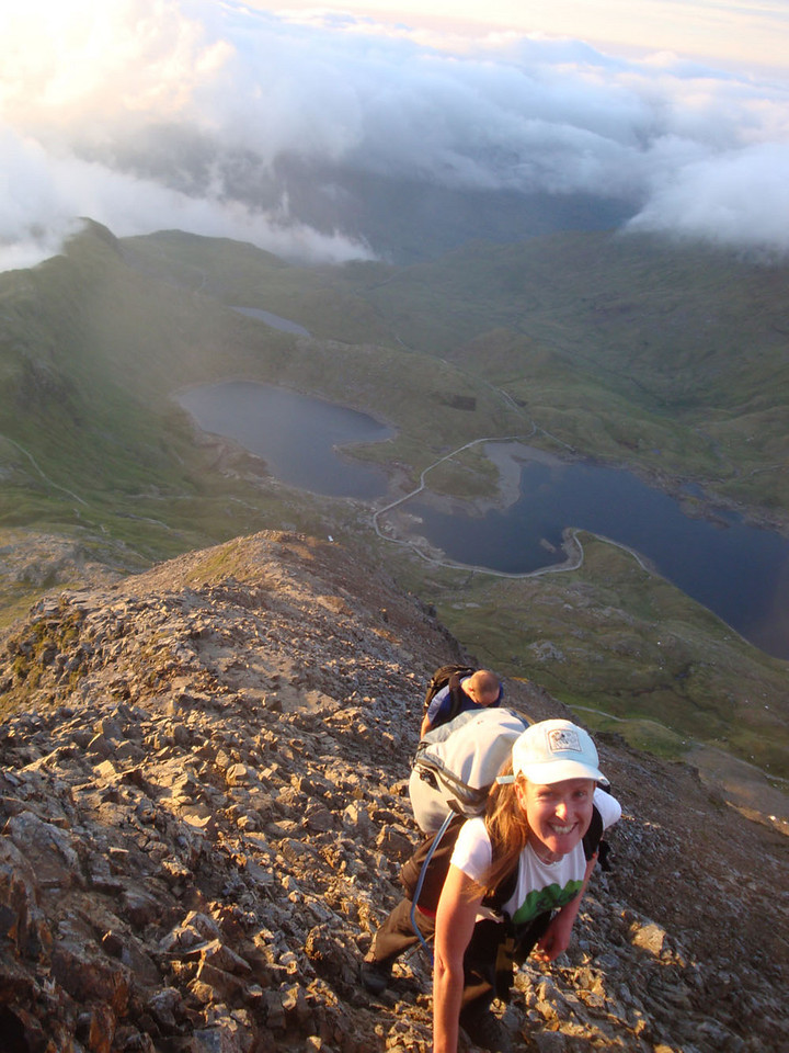 Vegan 15 Peaks Challenge, 2010. Kirsch climbing Crib Goch at dawn, Snowdonia, UK.