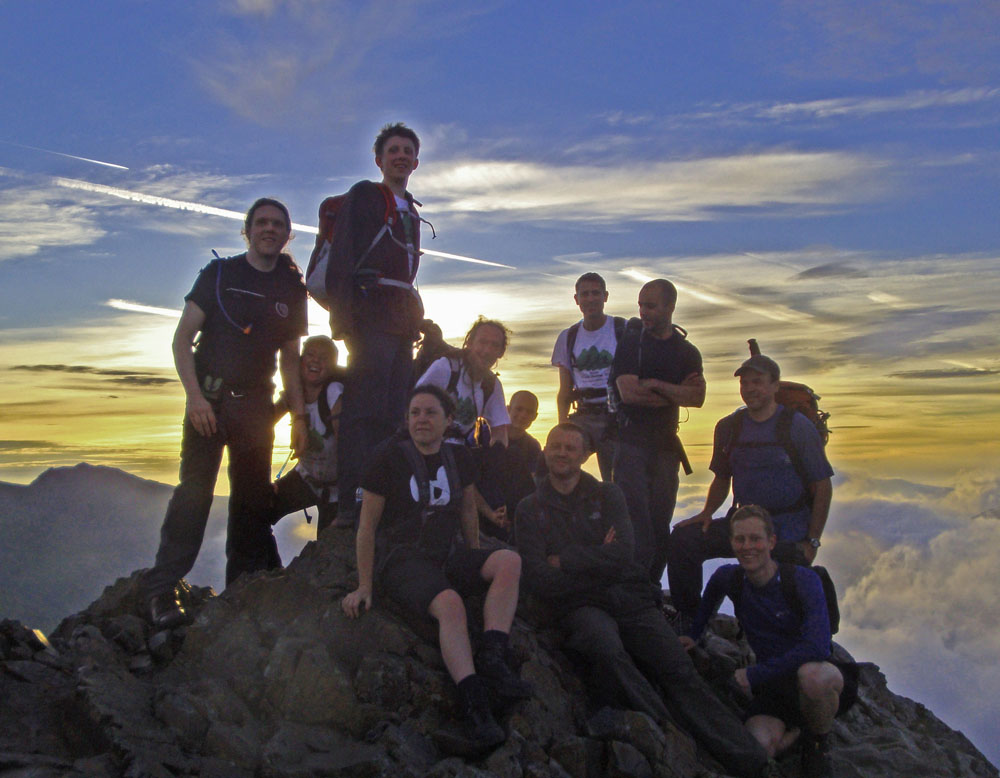 Crib Goch summit group Vegan 15 Peaks Challenge 2010