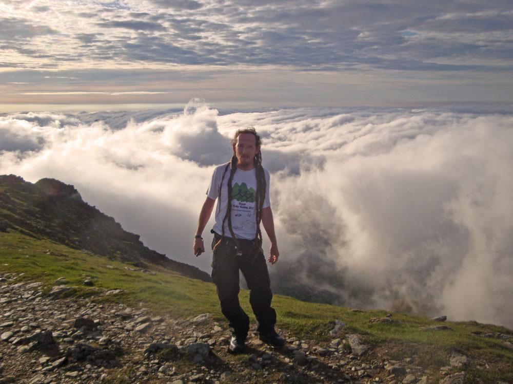 Carnedd Ugain summit Lee Vegan 15 Peaks Challenge 2010