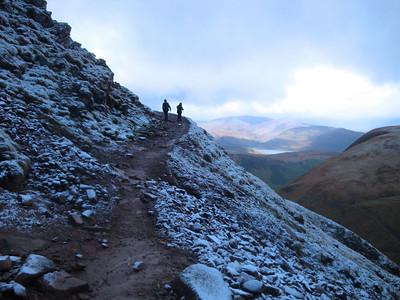 In 2009 we climbed the highest peaks in each of Wales, England and Scotland, within the same 24 hours - see Vegan 3 Peaks Challenge (www.vegan3peaks.info) for more pics, published stories and video. Here we're climbing Scotland's Ben Nevis - the highest UK peak - shortly after dawn.