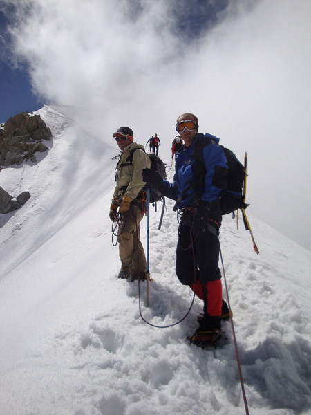Andy - also from the UK (Rt) and I were short-roped to our French mountain guide, Phillipe (Lt). Here we're ascending the Aiguille du Midi ridge after Day 2 acclimatising on a lesser peak nearby.
