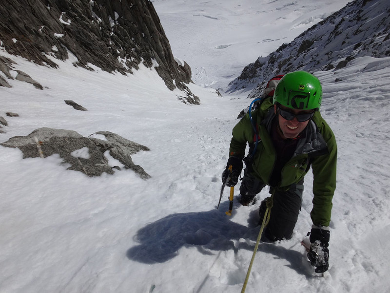 My 2014 ascent of a 300 m coulaire leading from the Argentiere Glacier toward the summit of Petit Verte in the French Alps, assisted by a wonderful guide called Julien. I'm a beginner who barely knows how to arrest a fall and that snow is sometimes loose… I survived mostly by not looking down.