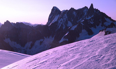 Col du Midi sunrise purple Mt Blanc Massif France 2009