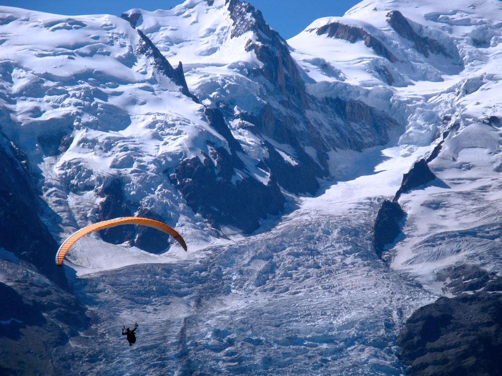Bossons Glacier paraglider Mt Blanc Massif France 2009