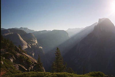 Whilst touring the US in 2004 I slept in my car in a forest above Yosemite Valley. Grizzly bears roamed somewhere nearby, and this was the view from Glacier Point at dawn.