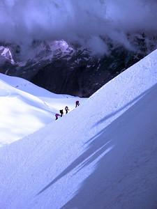 Aiguille du Midi ridge climbers 1 Mt Blanc Massif France 2009