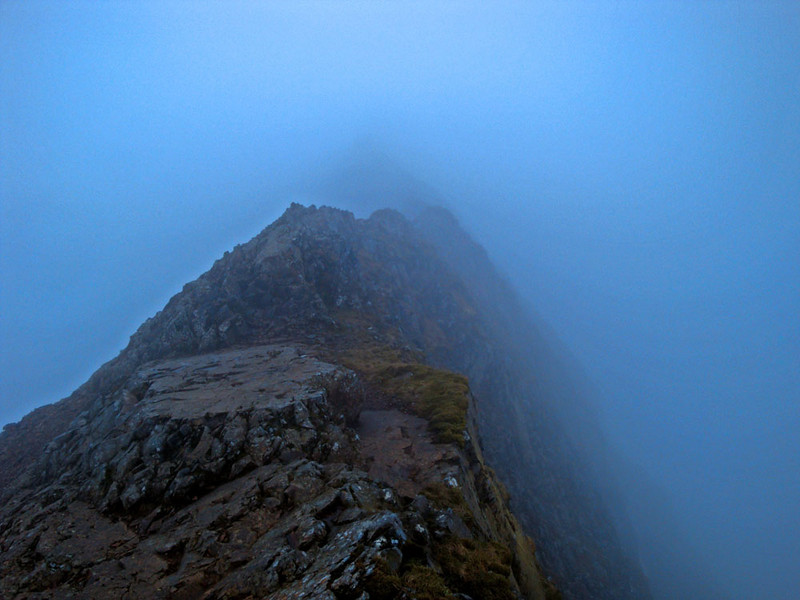 Crib Goch is a knife-edged ridge forming part of the Snowdon horseshoe leading toward Mt Snowdon. It's one of my favourite places, although the weather is frequently bad.