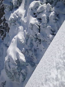 Chamonix is the world capital of Alpinism and offers plenty of brilliant skiing, and also ice-climbing and mountaineering. I skied to this point just below the tongue of the Argentiere Glacier - a top location for ice-climbing. Avalanches and collapsing ice bridges regularly boomed whilst I was eating lunch.