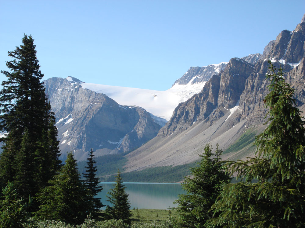 In 2008 I toured the Icefields Parkway in the Canadian Rockies - quite possibly the world's most beautiful road. This is Crowfoot Glacier & Bow Lake.