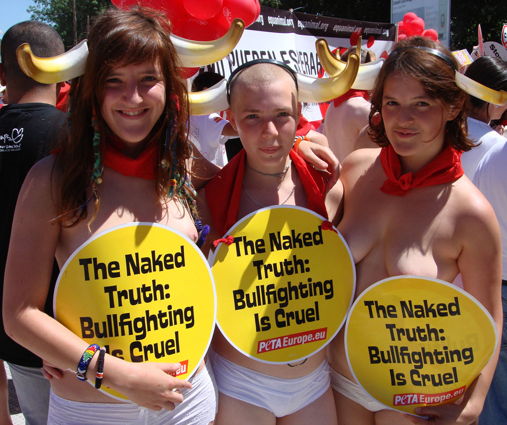 Activists 2 Running of the Nudes Pamplona Spain 2007