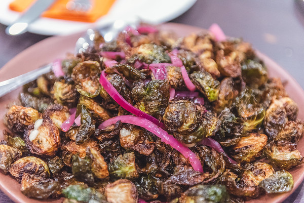 deep fried brussels sprouts with pickled onions