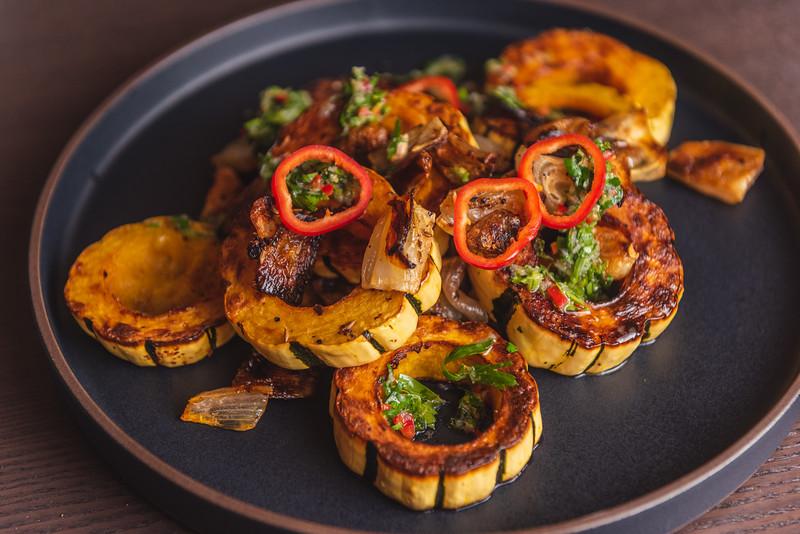delicata squash with fresno chili gremolata
