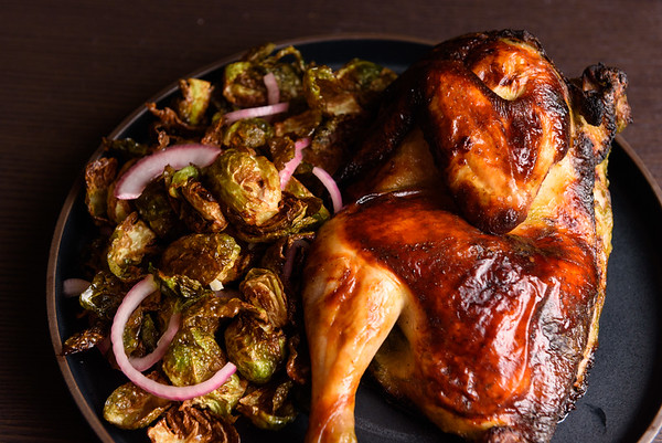 roast chicken with fried brussels